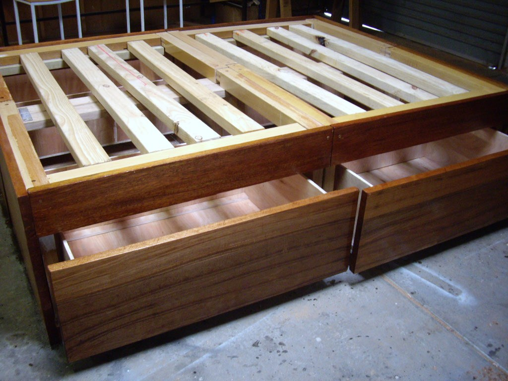 How to build a diy bed frame with drawers storage handy home zone - How to build a queen size bed frame with drawers ...